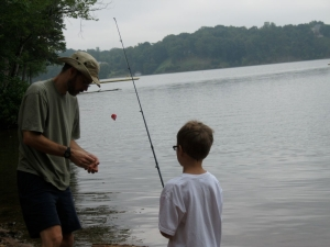 me baiting son's hook